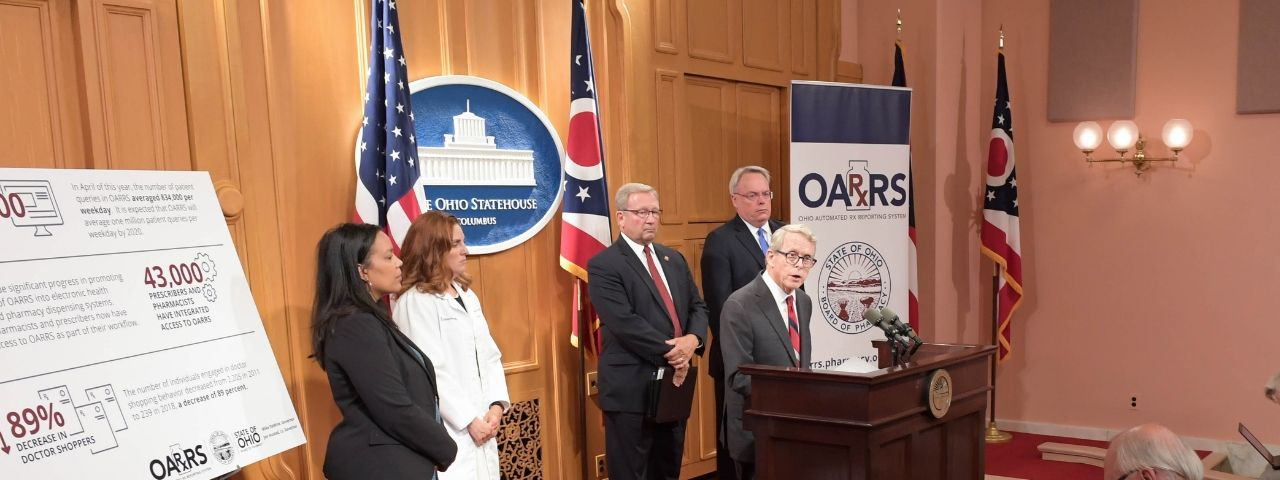 Image of Governor Mike DeWine speaking at press conference.